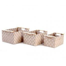 Sada 3 košíků s rukojeťmi Plaited Beige