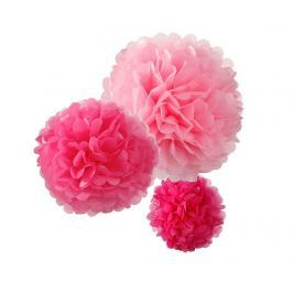 Sada 3 závěsných dekorací Flowers Pink