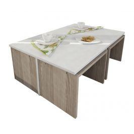 Sada konferenční stolek a 4 židle Flow Dark Brown