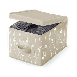Úložná krabice s víkem Beige Leaves S