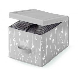 Úložná krabice s víkem Grey Leaves S