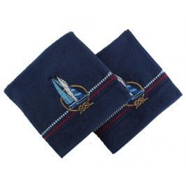 Sada 2 vyšívaných ručníků Ferry Blue 50x90 cm