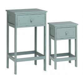 Sada 2 stolků s 1 zásuvkou Chatelet Blue Grey