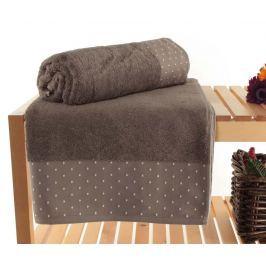 Sada 2 ručníků Polka Dots Brown 90x150 cm