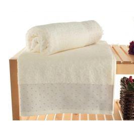 Sada 2 ručníků Polka Dots Ecru 90x150 cm