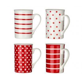 Sada 4 hrnků Dots & Lines Red 270 ml