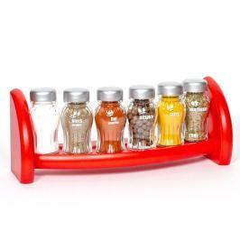 Sada 6 nádob na koření a závěsný držák Aroma Red