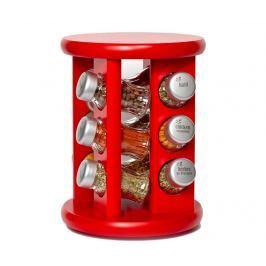 Sada 12 nádob na koření a rotační držák Carousel Red