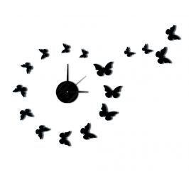 Samolepka s nástěnnými hodinami Butterfly Black
