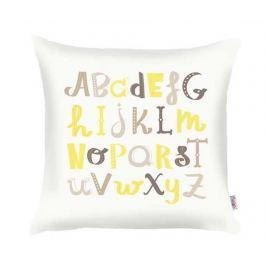 Povlak na polštář Alphabet Brown Yellow Grey 35x35 cm