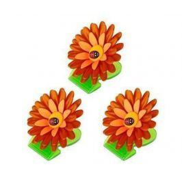 Sada 3 skřipců memo Flower Power Orange