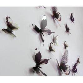 Sada 18 samolepek 3D Black Butterfly