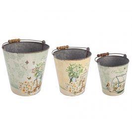 Sada 3 dekoračních kbelíků Les Fleures