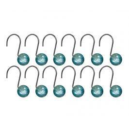 Sada 12 věšáčků na sprchový závěs Glitter Turquoise