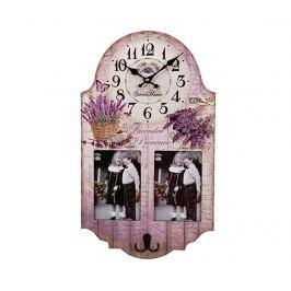 Nástěnné hodiny s 2 fotorámečky a věšákem Lavender Provence