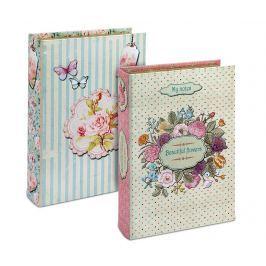 Sada 2 krabic ve tvaru knihy Beautiful Flowers