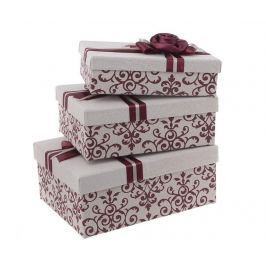 Sada 3 krabic s víkem Cream  Color Rectangular