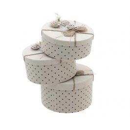 Sada 3 úložných krabic s víkem Rose Romance