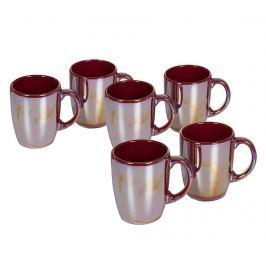 Sada 6 hrnků Crockery Burgundy 350 ml