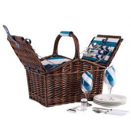 Piknikový košík s výbavou pro 4 osoby Coast Aqua Stripes
