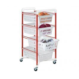 Úložný vozík se 4 košíky Roma Red