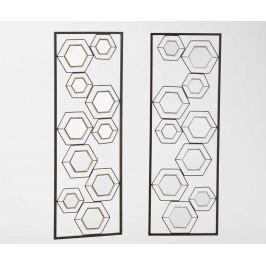 Sada 2 dekorací se zrcadlem Hexagonal