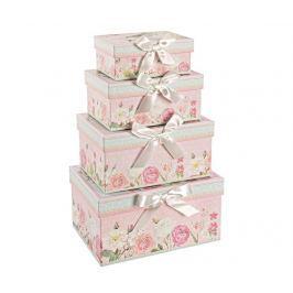 Sada 4 krabic s víkem Pink Bow
