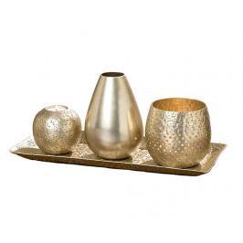 Sada 2 podstavců na svíčku, váza a tácek Modin