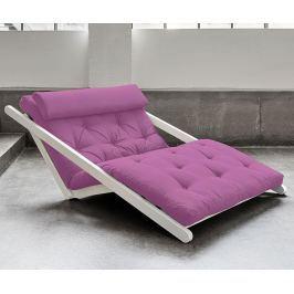 Rozkládací lehátko do obýváku Figo White and Taffy Pink 120x200 cm
