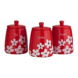 Sada 3 nádob s víkem Scatter Floral Red