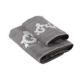 Sada 2 ručníků Floriane Grey Koupelnové ručníky