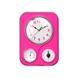 Nástěnné hodiny s časovačem a teploměrem Hot Pink