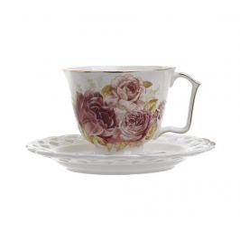 Sada 6 šálků a 6 podšálků Tea Red White Roses Servírování čaje & kávy