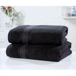 Sada 2 ručníků Rhinestone Diamante Black 90x140 cm