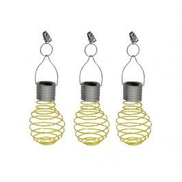 Sada 3 závěsných solárních lamp Light Bulb Yellow