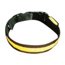 Obojek svítící a blikající pro psy, pásek pro chodce a cyklisty velikost L, barva žlutá