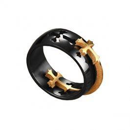 Prsten Dark černá/zlatá barva 72mm, pánský