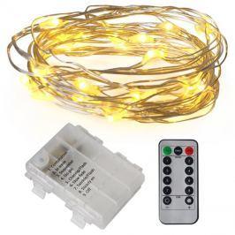 Řetěz vánoční 50 LED, 5m, 3xAA, bílá teplá, časovač, voděodolné
