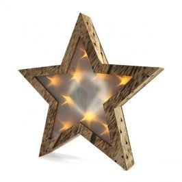 Vánoční LED hvězda dřevěná, 3D efekt světla, 3 x AA , teplá bílá SOLIGHT 1V42