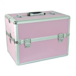 Kufřík kosmetický PROTEC hliník růžový malý