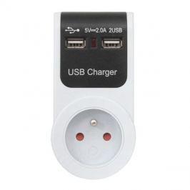 Adaptér   USB 230V/5V (2xUSB průchozí)
