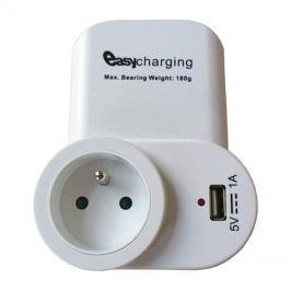 SKROSS USB nabíjecí adaptér s průběžnou zásuvkou, 1000mA, držák na telefon, bílý, DC23, SOLIGHT