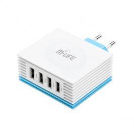 Adaptér  USB nabíjecí adaptér, 4x USB, 4200mA max., AC 230V, bílomodrý