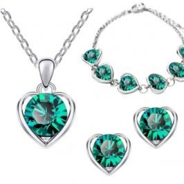 Šperk Set Love Heart zelená