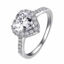 Prsten srdíčko Stříbrná barva 52mm