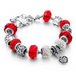 Šperk náramek Eternal - Stříbrná/Červená