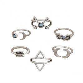 Sada prstýnků MOON  6ks stříbrná/tyrkys