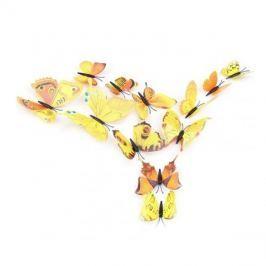 Dekorace na stěnu - motýli 12 ks, žlutá