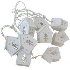 Řetěz vánoční  2m, 2xAA, chaloupky dřevěné bílé, RETLUX RXL 168
