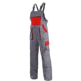 Kalhoty LUX EMIL montérkové s náprsenkou, šedo-červené 62